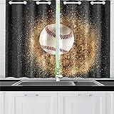 JOCHUAN Palla da Baseball sulla Sabbia Vista dall'alto Tende da Cucina Finestra Tenda per Il caffè, Bagno, Lavanderia, Soggiorno Camera 26 x 39 Pollici 2 Pezzi