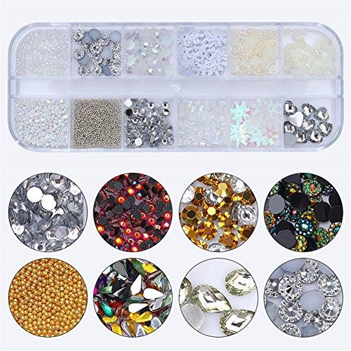 coulorbuttons 1Box gemischt bunt Strass Perle Blumenmuster Pailletten Maniküre Nail Art 3D Dekoration 2 (Sandalen Flache Perlen)