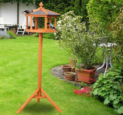 PawHut Deluxe Bird Stand Feeder Table Feeding Station Wooden Garden Wood Coop Parrot Stand 113cm High New 3