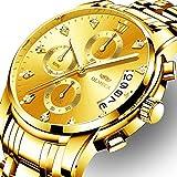 OLMECA Relojes Hombre Moda de Lujo Reloj de Pulsera de Cuarzo Cronógrafo Impermeable con Cuero, Relojes de Acero Inoxidable para Hombres. (A-Oro)