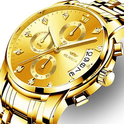 Herrenuhr Mode Luxus Quarz Armbanduhr Wasserdichte Chronograph mit Leder Edelstahl Uhren für Männer (A-Gold)