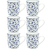 Weiß Blau Design Tee-/Kaffeetasse - 280 ml - 6er-Set