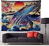 Blauwal Große Kanagawa Welle Wandteppich Japanischer Stil Wandbehang Sakura Rot Sonne Berg Ukiyoe Wandkunst Tapisserie Dekorative Wanddecke Vorhang Tischdecke Tagesdecke 79 * 58in