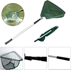 Forberesten Telescoping Foldable Fishing Landing Net Aluminum Alloy Frame Triangle Fishing Brail