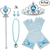 Vicloon Princesa Vestir Accesorios 6 Pcs Regalo Conjunto de Belleza Corona Sceptre Collar Pendientes Anillo Guantes para Niña