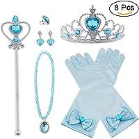 Vicloon Nuovi Costumi da Principessa set di 8 pezzi Dono da Tiara,Guanti,Bacchetta Magica, Anello, Orecchino,Collana da…