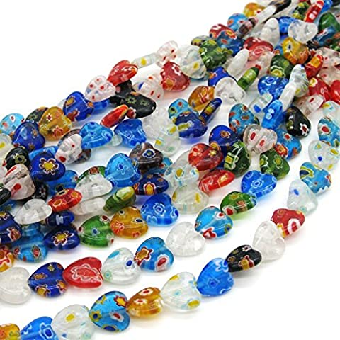 TOAOB 40 pieces 10mm Mix Millefiori Lampwork Flat Heart Glass Beads for jewellery making