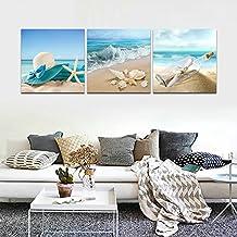 CrmOArt - 3 paneles de pintura de paisaje Arte de la pared - Playa, estrella