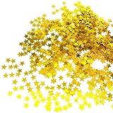 JZK 5000 x 1cm Gold Sterne Glitzer Plastik Konfetti Tisch Confetti, Handwerk Geschenk Deko Zubehör, für Hochzeit Geburtstag Taufe Party Weihnachten Festival (Gold Sterne)