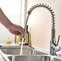 VAPSINT® Good Build Quality Chrome Monobloc Kitchen Sink Mixer Tap,Swivel & Spring Spout Pull Out Bar Taps
