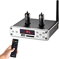 Nobsound HiFi 6K4 Vacuum Tube Preamplifier, Wireless Audio Hi-Fi Stereo Preamp, Remote Control, Bluetooth, U-Disk, SD Card, 3.5mm AUX, RCA Inputs Röhrenvorverstärker (Silver)