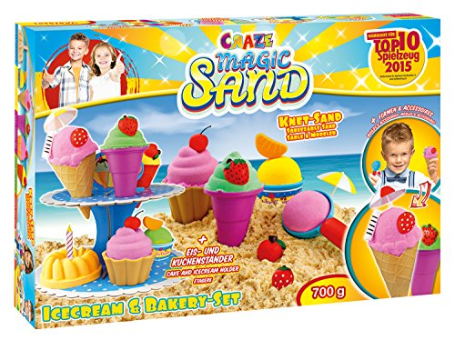 Craze 54179 - Magic Sand Icecream und Bakery Set, ca. 700 g (Gelb-eis-wanne)