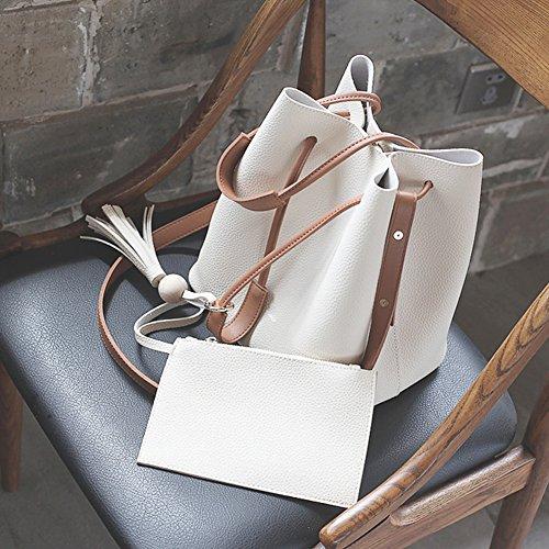 Turelifes Tassel Eimer Totes Handtasche Frauen Hobos und Schultertaschen Crossbody Tasche 3 Back-Methode (Grau) Weiß