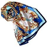 Lorenzo Cana Marken Seidentuch 100 x 100 cm Damentuch 100% Seide, Barock Paisleymuster Tuch Schal Markentuch, Blau, 90 x 90 cm