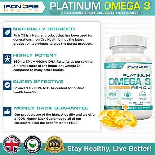 Omega 3 Triple Strength Fish Oil – 2000mg, 660 EPA 440 DHA per serving – 180 Premium Softgels by Iron Ore Health