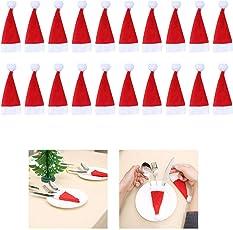 Weihnachten Besteckhalter,Wawer 15/ 20pcs Weihnachten Tischdeko Weihnachtsmann Hut Bestecktasche Besteckbeutel Gabeltasche Kostüm Xmas Party Weihnachts Dekorationen (20pcs)