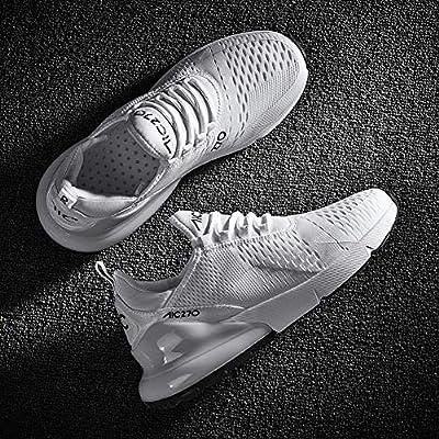smarten Sportschuhe Herren Damen Laufschuhe Luftkissen Schuhe Turnschuhe Fitness Gym Leichtes Bequem Sommer Trekking Sneakers White 42 EU