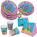 Die kleine Nixe Meerjungfrau Mermaid Partyset 52tlg. für 16 Kinder Teller Becher Servietten