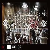 Stickers noel,Koly Wall Stickers Muraux fenetre Vitres Amovible Decoration de Noël Autocollants flocon de neige blanche decoration noel Salon vitrine De La Chambre deco noel (C, 45*33*55cm)