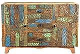The Wood Times Sideboard Vintage Wohnzimmerschrank Massivholz Agra, FSC Recycled, BxHxT 115x80x40 cm