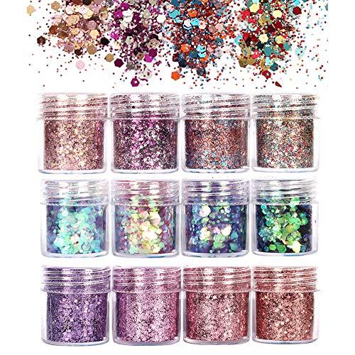 GCOA 12 Boxen Glitzer Für Gesicht Körper Glitzer, Glitzer Sequin Chunky Glitter für Gesicht Nägel Augen Lippen Haare Körper, Make-Up Glitzer Paillette(10ML)