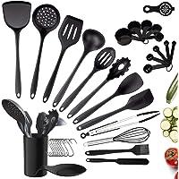 35pcs Ustensiles de Cuisine Silicone, Ustensiles de Cuisine Noir avec Support, Set de Cuisine Antiadhésive Anti-Rayure…