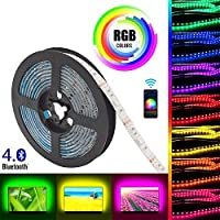 Gluckluz LED Light Strip Smart Bluetooth Lighting 2m USB Smartphone APP Control RGB 5050 Color Changing Flexible Waterproof TV Backlight Strip for Bedroom Indoor Outdoor DIY Decoration