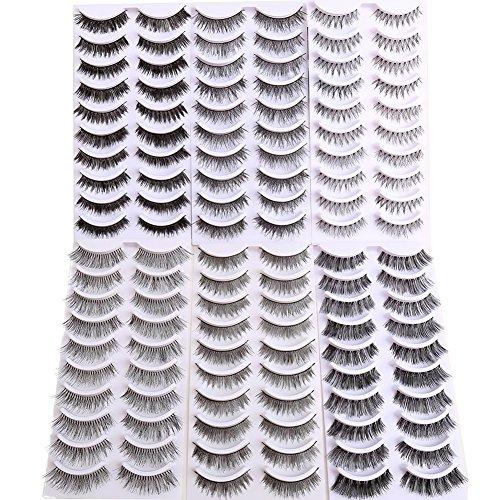 Bella hair 60 paia ciglia finte naturali strip - 6 stili con fasce flessibili