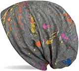 styleBREAKER Beanie Mütze mit Splat Style Farbklecks Muster im Used Look Vintage Design, Slouch Longbeanie, Unisex 04024118, Farbe:Grau-Weiß
