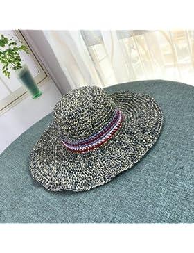 LVLIDAN Sombrero para el sol del verano Lady Anti-sol playa de Canto Grande sombrero de paja hecho a mano azul...