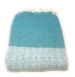 Agas Own Tagesdecke Elmas-SPEZIAL Überwurfdecke 200x230cm Türkische Decke 100% Baumwolle Tuch Stranddecke (Petrol)