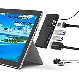 Estación De Acoplamiento Surface Go, Estación De Acoplamiento 5 en 1 HDMI C Hub USB Con 1000 M RJ45 Ethernet, 4 K HDMI, 2 Pue
