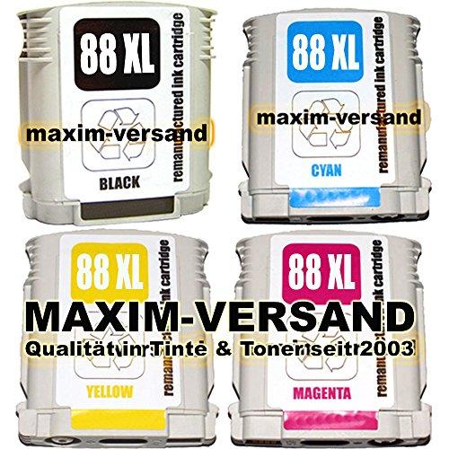 4x Cartuchos de Tinta Compatible con Multi Pack HP 88XL Set con Black, cian, Yellow & Magenta con chip & indicador (No Original) Juego de cartuchos de impresora