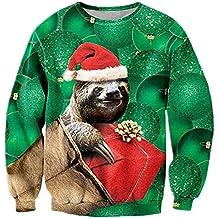 Navidad Jumper, Chicolife Unisex Hombre Para sudadera feo divertido 3D impreso Navidad gráfico suéter suéter Santa sudaderas S-XXL