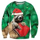 Pullover Jumper Cute Grüne Faultiere Gedruckt Schick Urlaub Langarm Leicht Tunika Tops T-Shirt Gym Sweatshirt Jungen XXL
