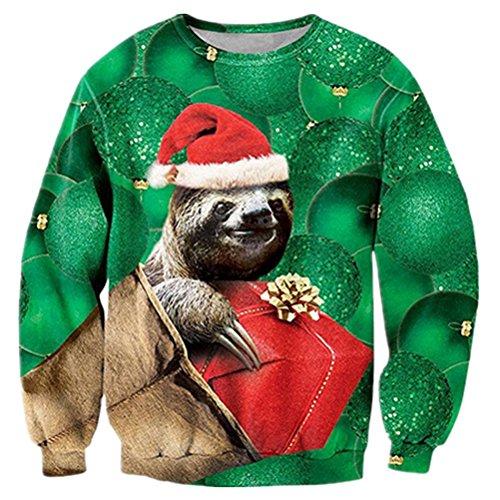 RAISEVERN Unisex hässliche Weihnachten Sloth Print Hipster Neuheit Pullover Pullover Sweatshirt für Urlaub tägliche tragen (Urlaub Sweatshirts)