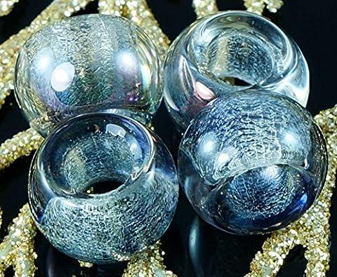 Gris Argent Pourpre Cristal tchèque Ronde Grand Trou Perles en Verre de 13 x 9 mm 4pcs