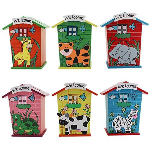 return gifts Piggy Bank Wood House Animal Designs (1j251) - Pack of 6