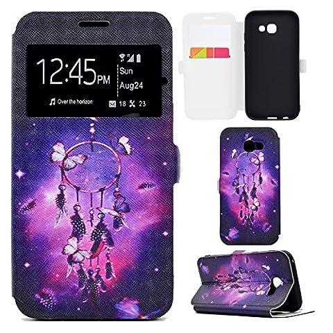 Coque Galaxy A5 2017, Funluna Housse Magnétique Smart View avec Fenêtre Etui Cuir Coque et Stand Fonction pour Samsung Galaxy A5 2017