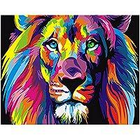 Gosear Pintura al óleo Animal de DIY Digital Que colorea por números en la decoración del Arte de la Pared de la Lona de Lino (40 x 50 cm/15.75 x 19.69 Pulgadas)