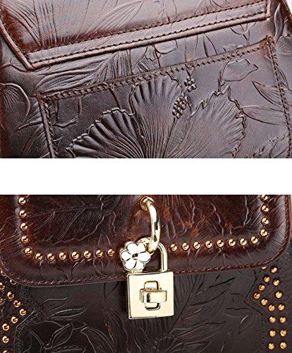 Handtasche Satchel Handtasche Umhängetaschen CrossBody Büro Elegante Für Frauen Leder Brown Mädchen Frauen Bags Messenger Satchel BqTRx8w