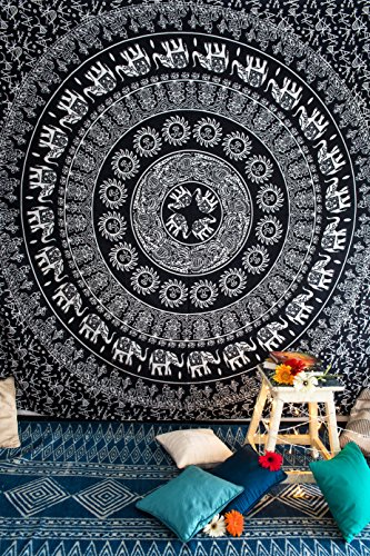 Tapiz con diseño de mandala con elefantes en blanco y negro, para...