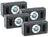 Lunartec Pflasterstein Leuchten: 4er-Set Solar-Pflasterstein mit LED-Strahler & Dämmerungs-Sensor, grau (Solar Pflastersteine Leuchtsteine)