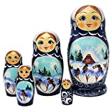 russouvenir Matroschka Babuschka Spielzeug Wintermotive 5 Puppen 16cm Handarbeit