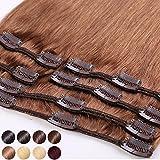 S-noilite® Extensiones de clip de pelo natural cabello humano #06 Marrón claro - 100% Remy hair – 8 piezas 18 clips (33cm-80g)
