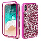 GOBY iPhone XS/X, Mince Étui en Silicone Souple Paillette Strass Brillante Bling...