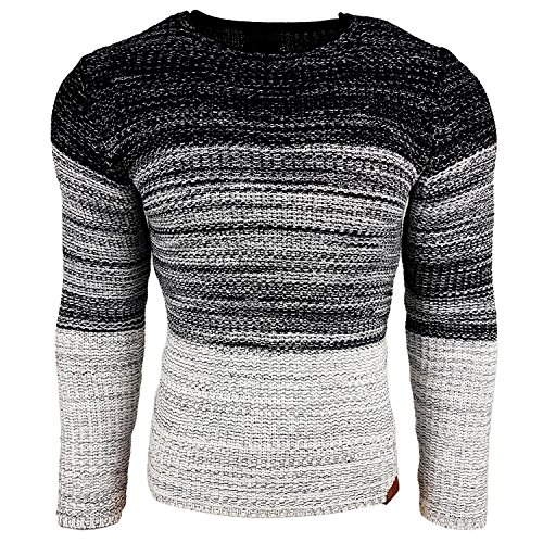 Subliminal Mode - Pull Over Col arrondi Homme Tricot SB-13270 Petite Maille Blanc