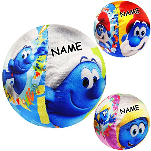 alles-meine.de GmbH Kleiner weicher - bunter Softball / Stoffball -  die Schlümpfe / Schlumpf - Schlumpfine & Papaschlumpf  - inkl. Name - Ø 11 cm - LEICHT - Babyball / Kinderb..