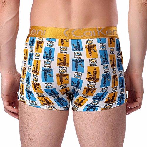 CAIKENI Herren Unterhose Sexy Moderne Eissilk Boxershort Comfort Passform Trunk Yellow