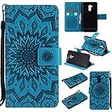 (Sleeping Bear) Coque/Etui Housse Pour Huawei Ascend Honor 5C, Exquise Elégant Totem de Tournesol le Motif en Relief PU Etui en Cuir, [Avec cordon Strap/Corde] Carte de Crédit /Comptant Slots Holder Wallet Ultra Slim Flip de Téléphone étui /Case Cover + Stylus.---Bleu
